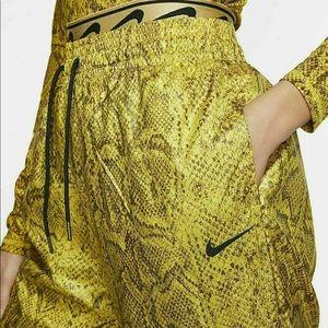 Nike Pants Womens Yellow Snake Woven Python Loose